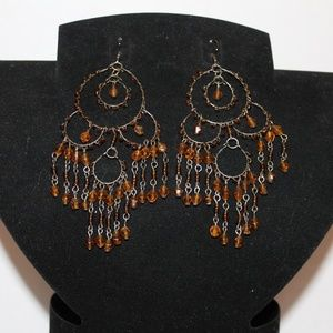 Large Amber Color Chandelier Earrings